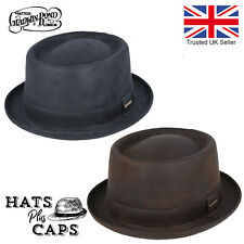 Leather Look Pork Pie Hat Vintage Retro Style Breaking Bad Trilby Gladwin Bond