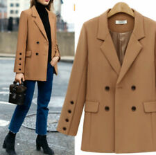 Womens Lapel Double-Breasted Business Mid Length Solid Suit Jacket Blazer Coat