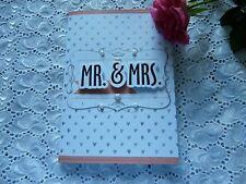 Glückwunschkarte Hochzeit Mr & MRS  Just Married  Weiß-Silber- Herz Perlen 3D