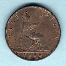 New listing Great Britain. 1866 Halfpenny. Much Lustre - Unc