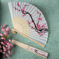 Fancy Chinese Japanese Hand Held Folding Cherry Blossom Silk Bamboo Wedding Fan