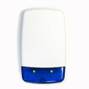 White Dummy/Decoy Alarm Bell Box with Blue Lens and dual alternate Flashing LEDs