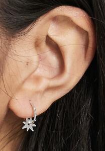 925 Sterling Silver Starburst Star Charm Sleeper Hoop Earrings 12mm