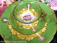 ANTIQUE STAFFORDSHIRE PORCELAIN TEA CUP AND SAUCER TRIO c. 1870 PAINTED GREEN