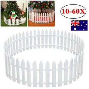 10-60X Plastic Picket Fence Garden Fencing Lawn Edging Home Christmas Tree Fence