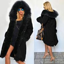 Roiii Warme Damen Winterjacke Mantel Kapuzen Jacke Kunstfell Parka Trench Coat