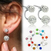 Elegant Women Silver Double Beaded Rhinestone Crystal Stud Earring Gift Jewelry