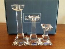 "NIB 3 Piece Marquis Waterford Crystal Pillar Candle Holders Siena 8""' 6"" 4"""
