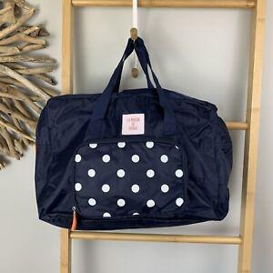 La Maison Du Voyage Travel Bag Blue Polka Dot Duffle Carrier Water Resistant NEW