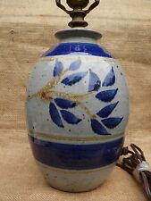 Hand Thrown Studio Pottery Abstract Contemporary Style Table Lamp Blue Ceramic