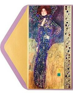 PAPYRUS LADY IN BLUE PURPLE KLIMT BIRTHDAY CARD VICTORIAN FASHION