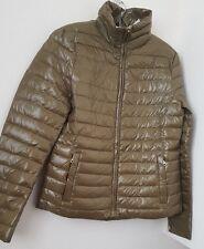 ZARA de color caqui abrigo acolchado Plumón Ultra Liviana Bnwt Talla S