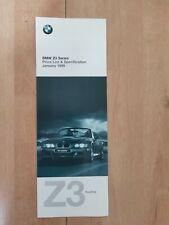 BMW Z3 1.9 & 2.8 & M Roadster Price List - January 1998