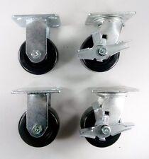 "4"" x 2"" Phenolic Wheel Caster - Rigid (2EA) & Swivel with Brake (2EA)"