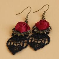 VINTAGE GOTHIC VAMPIRE HALLOWEEN BLACK LACE RED FLOWERS DANGLE EARRINGS LITT Bo