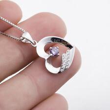 "925 Sterling Silver Necklace ""I love you""Engraved Heart Shape Purple CZ Pendant"