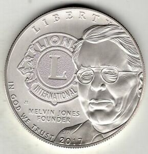 2017 Lions Clubs Int'l Centennial Commemorative Uncirculated Silver Dollar