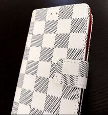 For iPhone X - White Checker Plaid Credit Card ID Wallet Pouch Holder Case Cover