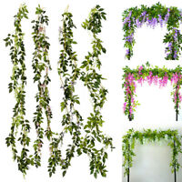 7FT artificiel fleur glycine vigne guirlande plante feuillage Extérieur/maison