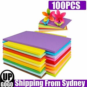 100pcs 70gsm A4 Coloured Card Painting DIY Craft Paper Making Cardstock Premium