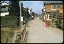 451F Orig Slide 1950's Quaint Rural Street Scene Bikes Girls On Roadside Japan