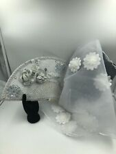African Nigerian Hand Fan and Veil (White & Silver) For Traditional Wedding
