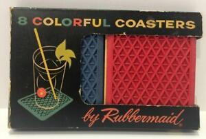 VINTAGE IN ORIG BOX RUBBERMAID 8 COLORFUL COASTERS DIAMOND DESIGN KAR-RUG RUBBER