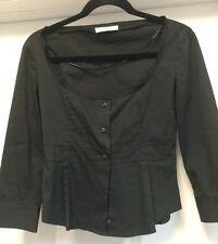 Prada Solid Black Stretch Cotton Casual  3/4 Sleeves Blouse Italy Sz 2 EU 40