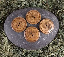 Large Natural Brown Celtic Endless Knot 2-hole Carved Yak Bone Buttons 4 Pack