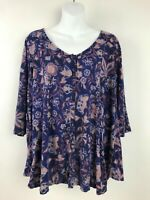 Lucky Brand Purple Pink Floral Print 3/4 Sleeve Peasant Ruffle Top Womens Sz 1X
