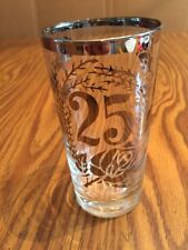25th Wedding Anniversary Drinking Glass Frosted Silver Floral Tumbler Vintage