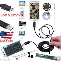 USB 5M 5.5mm 6LED Andorid Endoscope Waterproof Snake Borescope Inspection Camera