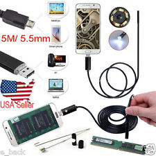 USB 5M 5.5mm 6LED Andorid Endoscope Waterproof Snake Borescope Inspection Camera