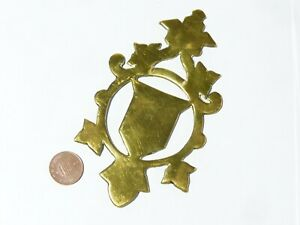 Antique Horse Brass Harness Mount Furniture Fitting SHIELD  #HB17