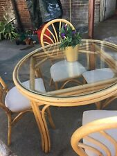 Retro Cane Table Chairs Round Glass Bamboo