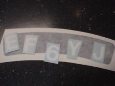 Lambretta Curved Number plate Flyscreen mudguard Sticker Set Black white letters
