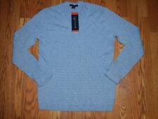 NWT Womens TOMMY HILFIGER Heather Denim Blue V-Neck Sweater Size M