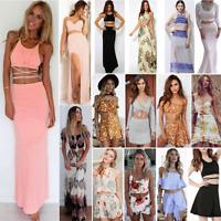 Summer Beach Women Evening Party Dress Maxi Long Skirt Crop Top Two Piece Set