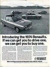 1974 Renault 17 Gordini Coupe Convertible & 4 Door 12TL Sedan Print Ad