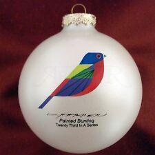 Charles/Charley Harper - Glass Christmas Ornament - PAINTED BUNTING - bird fun