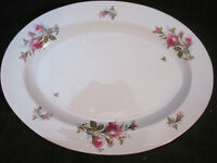 Pink Red Rose Platter Vintage Spring China Made in Japan Large 11 x 14 1/2""
