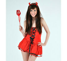 CUTE TEMPTRESS CHEEKY SAUCY RED DEVIL COSTUME UK 12-14 DRESS & HORNS HALLOWEEN