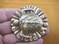 (B-TURT-400) Sea Turtle surf ocean scrolled striped textured brass pin pendant