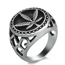 Men Boy Stainless Steel Ring Weed Marijuana Cannabis Leaf Symbol Fashion Jewelry