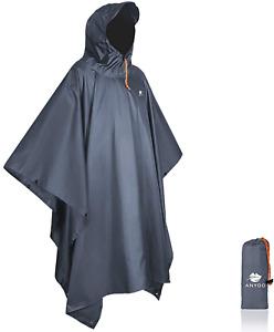Anyoo Waterproof Rain Poncho Lightweight Reusable Hiking Hooded Coat Jacket New