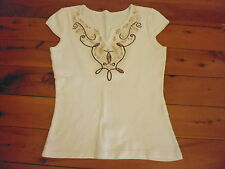 LADIES WHITE WITH BROWN BEADED DESIGN POLYCOTTON TOP - NO LABEL - SIZE 8/10