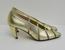 Walter Steiger metallic gold and mesh vintage high heel shoes distress 6 B