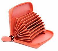 Ladies Full Zip Around Leather Concertina Credit Cardholder Coin Purse Baby Pink
