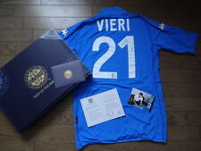 Italy #21 Vieri 100% Reliable Autographed Signed Jersey 2002 Home NEW with COA