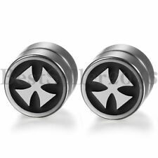 8MM Magnetic Round Circle Cross Non-Piercing Clip On Stud Earrings for Men Women